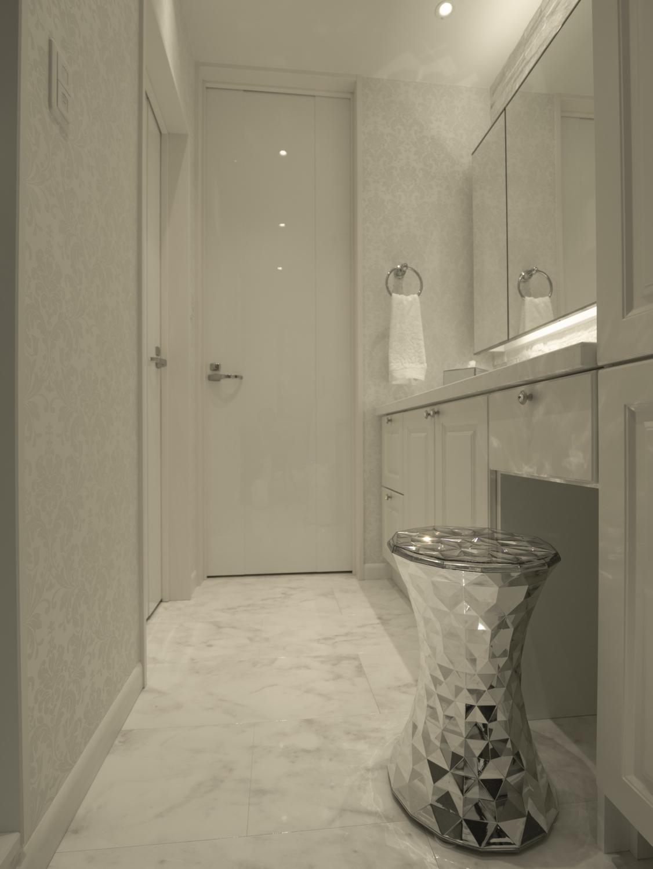 框デザインの白いオーダー洗面化粧台