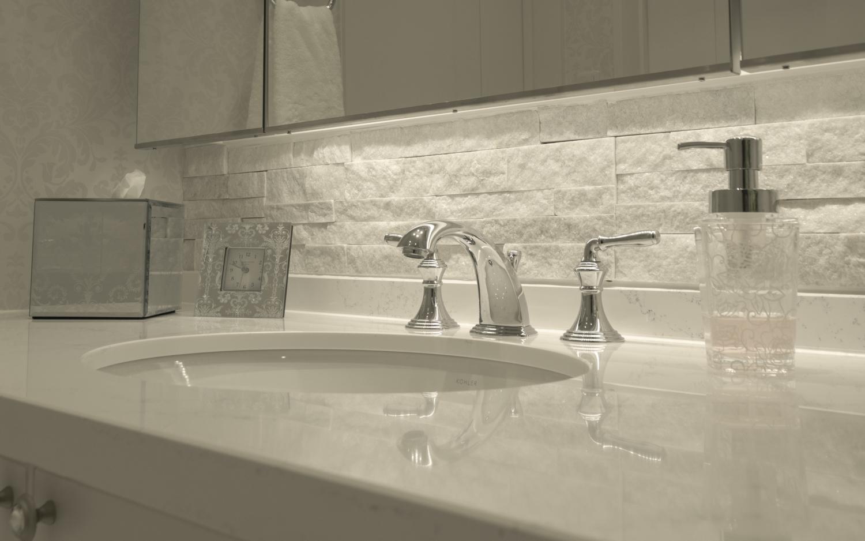 フルオーダー洗面化粧台 オーバルシンク 2レバーハンドル水栓 ホワイト大理石