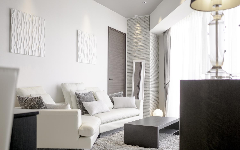 マンションの三角形のリビング 家具配置シンプルモダンインテリア 神戸