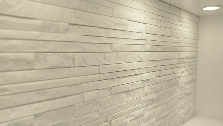 天然石ホワイトタイル キッチンバック収納
