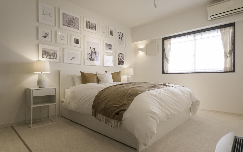海外のような主寝室のインテリア シンプルモダン ホワイト家具