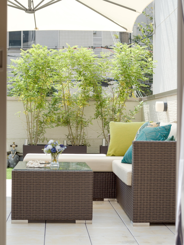 ルーフバルコニーをモダンアジアンなリゾート風お庭にコーディネート神戸大阪